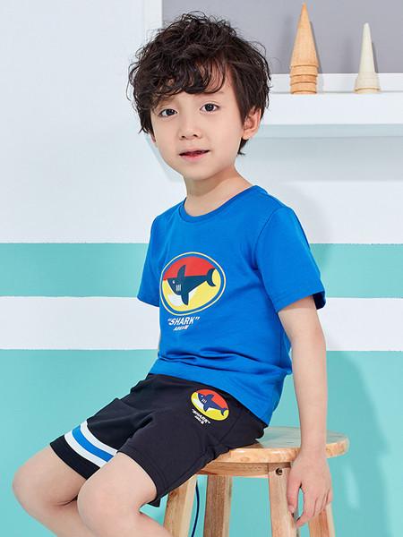 361童装童装品牌2020春夏新款儿童运动服小鲨鱼休闲短袖套装