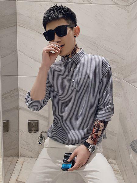乔治邦尼男装品牌2020春夏竖纹蓝白色T恤
