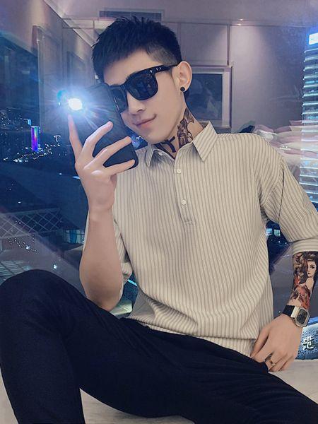 乔治邦尼男装品牌2020春夏竖纹翻领T恤衬衫