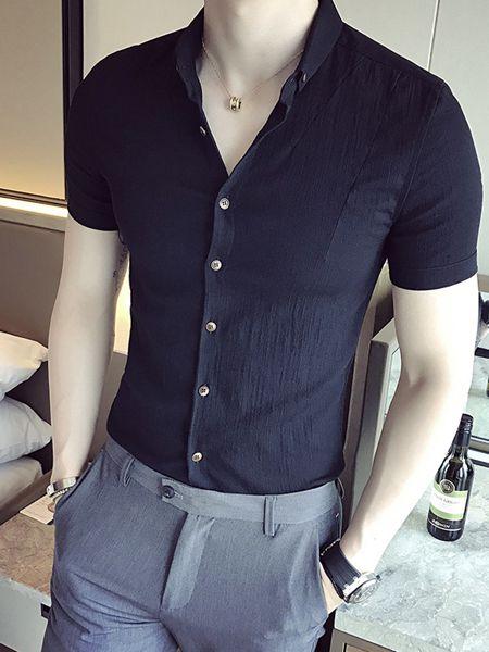 乔治邦尼男装品牌2020春夏藏蓝色衬衫