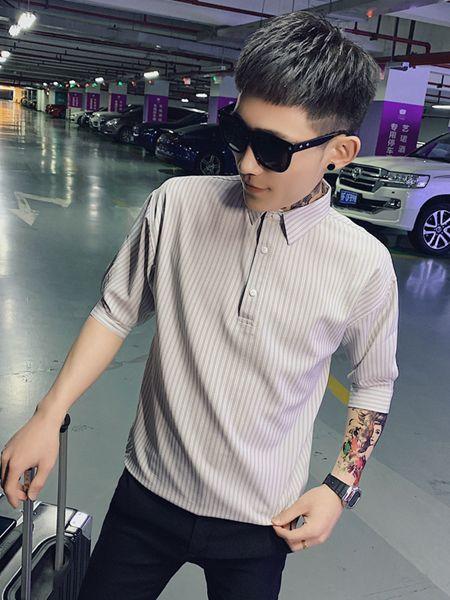 乔治邦尼男装品牌2020春夏竖纹灰色翻领衬衫