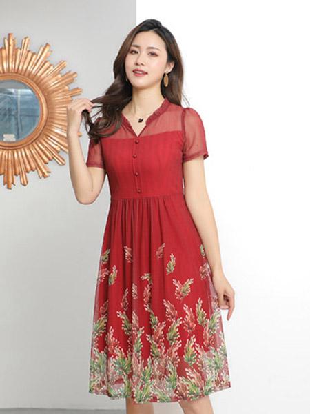 夺宝奇兵女装品牌2020春夏V领大红色收腰连衣裙