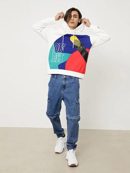 汉哲思男装品牌2020秋季大格纹黑白色卫衣