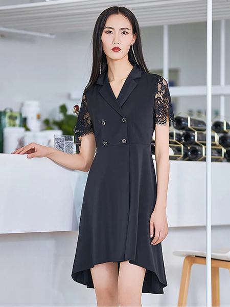艺燕女装品牌2020春夏V领黑色修身排扣连衣裙