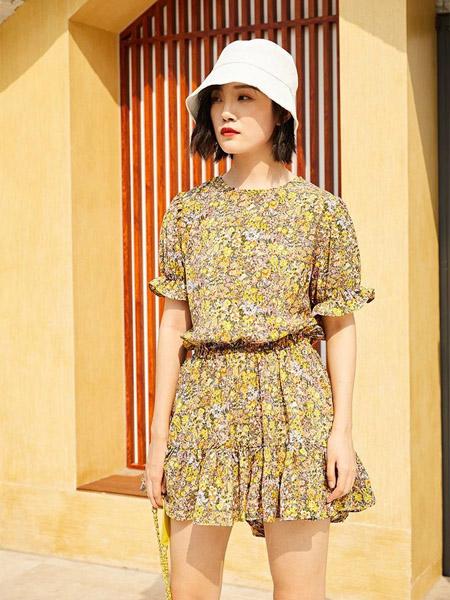 H+3女装品牌2020春夏收腰碎花黄色连衣裙