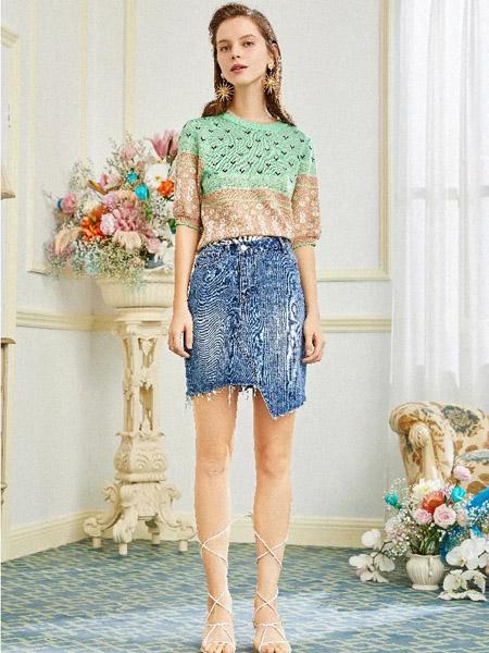 OCKKJ女装品牌2020春夏圆领绿色针织衫牛仔短裙