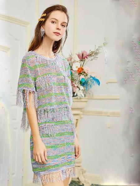OCKKJ女装品牌2020春夏圆领针织衫连衣裙