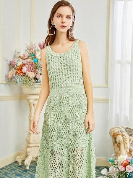 OCKKJ女装品牌2020春夏圆领镂空绿色连衣裙