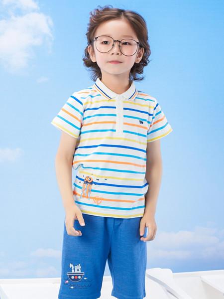 丽婴房童装品牌2020春夏男童短袖上衣夏季宝宝条纹翻领POLO衫儿童新款T恤