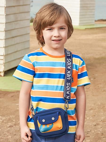 丽婴房童装品牌2020春夏男童条纹T恤新款宝宝洋气短袖上衣儿童新款纯棉T恤