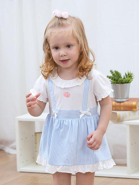 丽婴房童装品牌2020春夏婴幼儿假两件休闲连身装女宝宝
