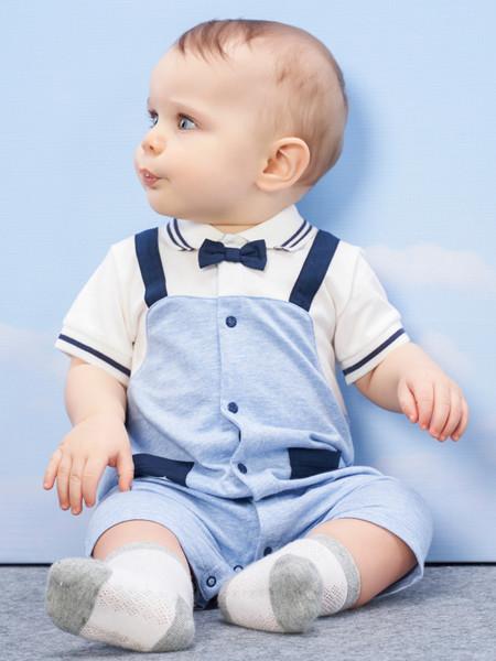 丽婴房童装品牌2020春夏婴童连身装绅士男宝宝短袖连身装夏季短袖连体衣