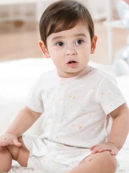 丽婴房童装品牌2020春夏婴儿衣服纯棉短袖哈衣男女宝宝夏装轻薄全棉睡衣游戏裤