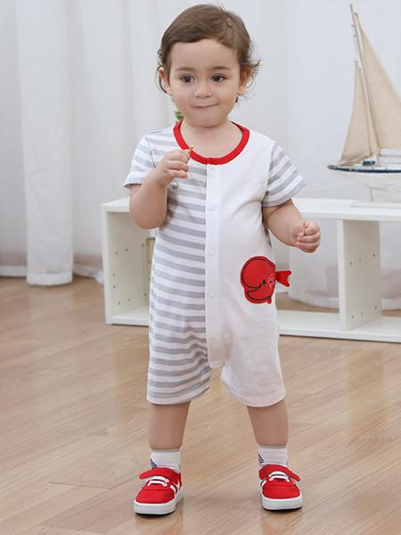 丽婴房童装品牌2020春夏男宝宝外出服哈衣夏季婴幼儿纯棉连体衣新款爬服连衣裤