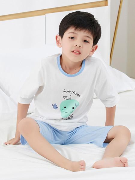 丽婴房童装品牌2020春夏男童睡衣套装短袖宝宝纯棉夏装家居服套装新款
