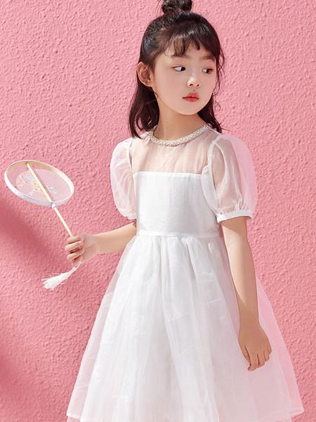 太平鸟童装品牌2020春夏新品连衣裙网红网纱裙泡泡袖裙洋气
