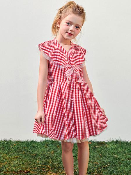 太平鸟童装品牌2020春夏新品女童红色格纹连衣裙蓬蓬裙摆