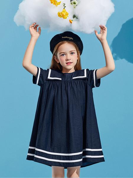 太平鸟童装品牌2020春夏海军领学院风A字裙姐妹装闺蜜连衣裙