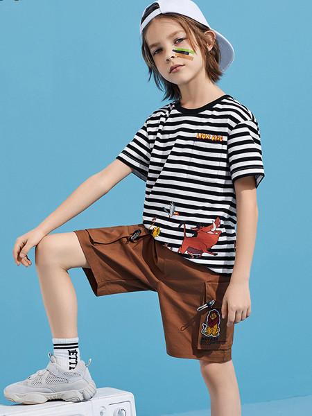 太平鸟童装品牌2020春夏男童条纹短袖儿童卡通T恤海魂衫