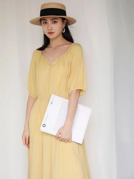 Remember女装品牌2020春夏V领黄色收腰连衣裙