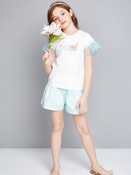 笛莎童装品牌2020春夏新款中大童儿童小女孩清新印花针织套装