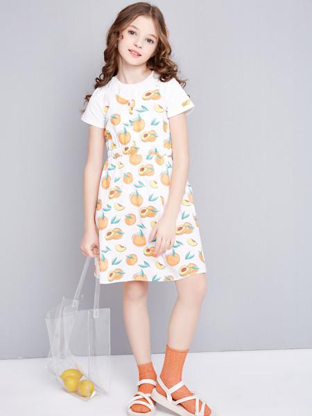 笛莎童装品牌2020春夏新款中大童儿童小女孩短袖吊带裙套装女