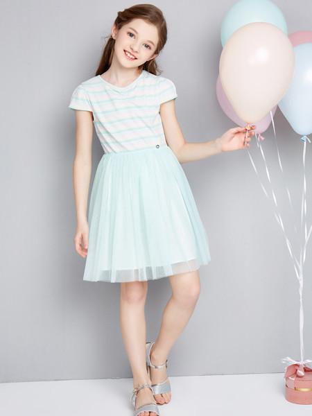笛莎童装品牌2020春夏中大童儿童小女孩洋气条纹连衣裙女