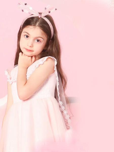 水孩儿童装品牌2020春夏浅粉色收腰连衣裙