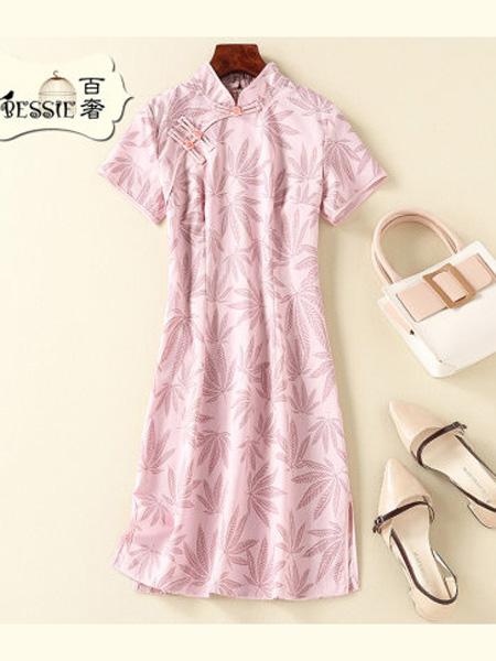 贝茜女装品牌2020春夏甜美中国风优雅短款旗袍连衣裙显高显瘦