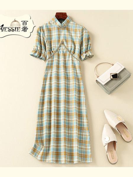 贝茜女装品牌2020春夏甜美复古修身旗袍中国风连衣裙