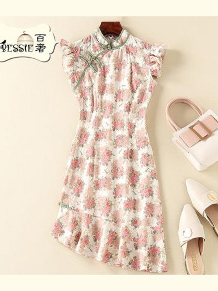 贝茜女装品牌2020春夏复古刺绣印花中国风修身旗袍连衣裙