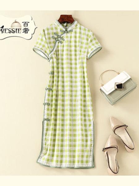 贝茜女装品牌2020春夏复古中国风修身连衣裙改良旗袍显高显瘦