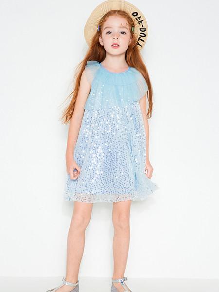 时尚小鱼童装品牌2020春夏装中大童洋气亮片网纱爱莎公主裙