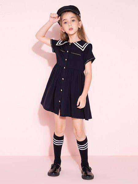 时尚小鱼童装品牌2020春夏款网红洋气女童小香风短袖学院JK连衣裙