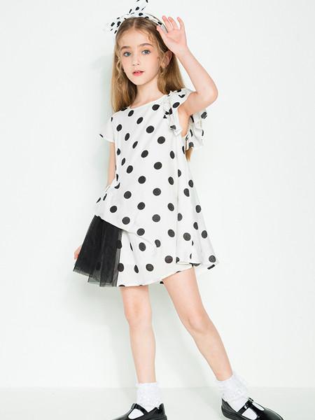 时尚小鱼童装品牌2020春夏新款网红洋气中大童女童波点网纱短袖连衣裙