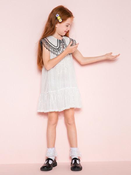 时尚小鱼童装品牌2020春夏新装女童法式大翻领亮片短袖连衣裙