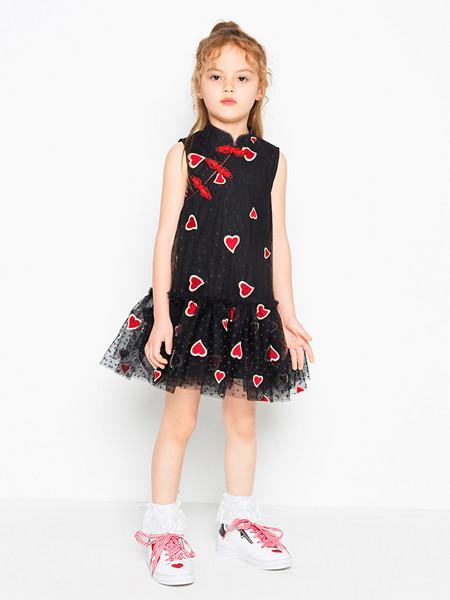 时尚小鱼童装品牌2020春夏新款网红洋气旗袍女童汉服连衣裙