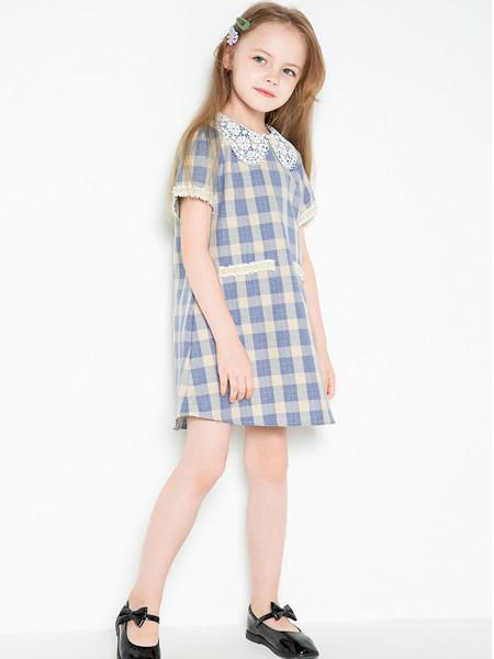 时尚小鱼童装品牌2020春夏格子小香风连衣裙小紫薯格纹裙