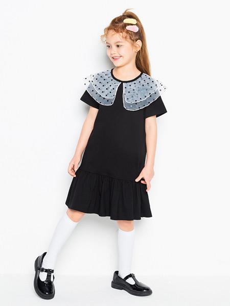 时尚小鱼童装品牌2020春夏新款洋气网红女童法式翻领学院风短袖连衣裙