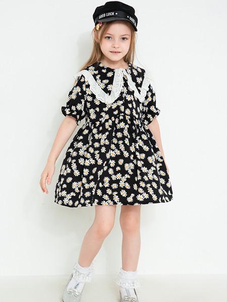 时尚小鱼童装品牌2020春夏装儿童洋气宝宝公主裙女童网红小雏菊翻领连衣裙