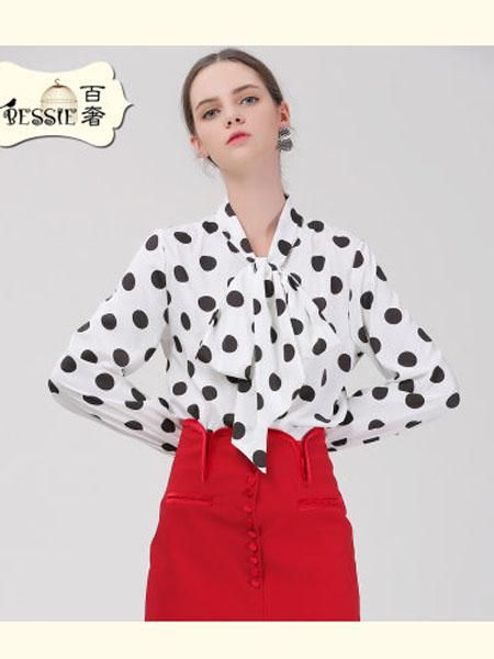 贝茜女装品牌2020春夏波点衬衫女长袖复古赫本风蝴蝶结系带上衣