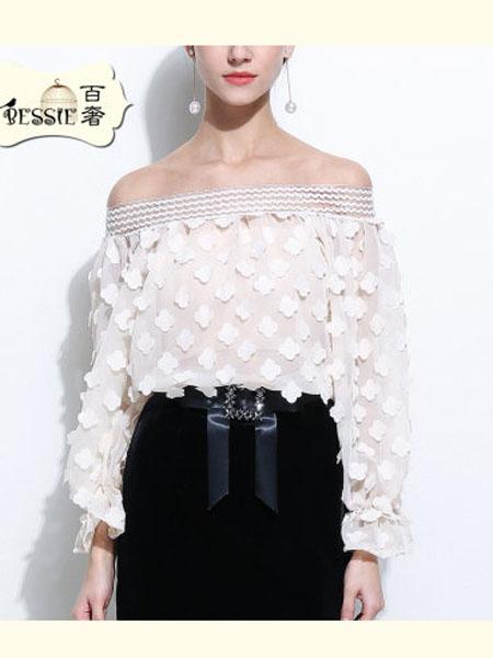 贝茜女装品牌2020春夏雪纺衬衫女灯笼袖淑女一字领立体花瓣上衣