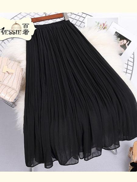 贝茜女装品牌2020春夏百搭温柔风纯色显瘦短裙