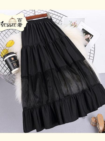 贝茜女装品牌2020春夏韩版高腰超仙拼接欧根纱短裙清新显高