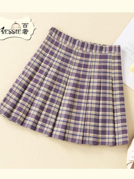 贝茜女装品牌2020春夏韩版高腰显瘦格子短裙学院减龄