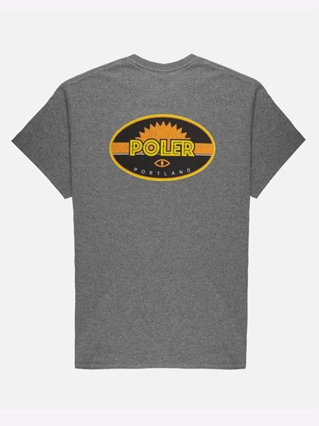 POLER户外品牌2020春夏椭圆形字母灰色T恤