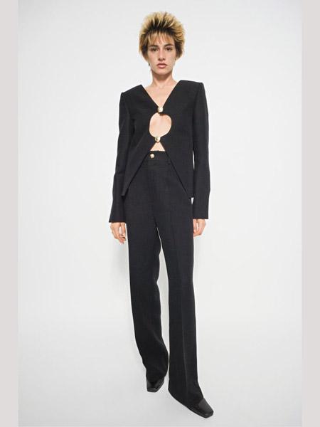 Seen Users国际品牌2020春夏圆领漏胸黑色西装套装
