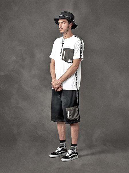 CUNE国际品牌2020春夏圆领白色T恤黑色短裤