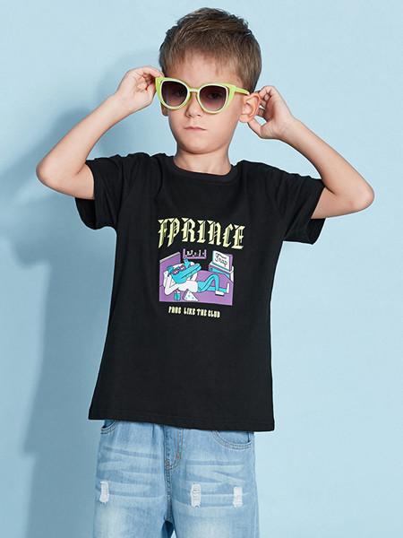 青蛙王(皇)子童装品牌2020春夏男童印花上衣T恤夏季中大儿童男圆领短袖潮