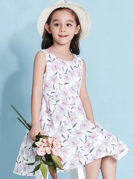 青蛙王(皇)子童装品牌2020春夏儿童连衣裙女夏装无袖背心假两件纯棉印花公主裙